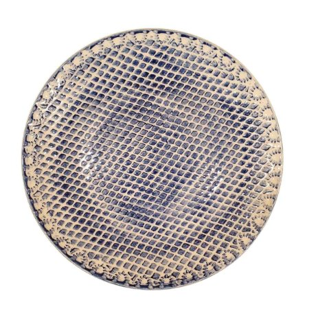 Prato Suspenso p/Doces de Cerâmica Azul e Branco 28cm