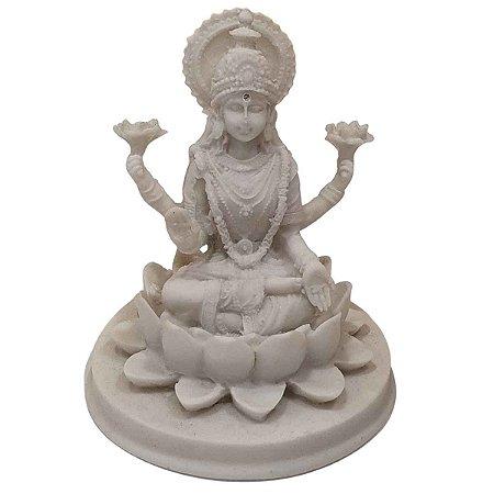 Escultura Lakshmi de Pó de Mármore Branca 11cm