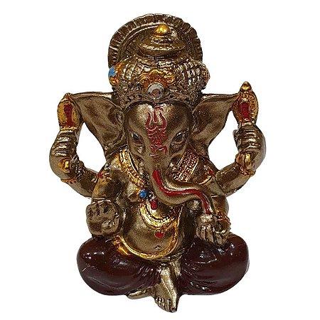 Mini Ganesha de Resina Bordô 5cm