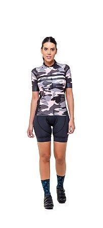 Camisa de Ciclismo Feminina Slim Colorida Estampada - Camuflado