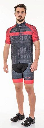 Camisa Dry para Ciclismo Masculina - Preto com vermelho