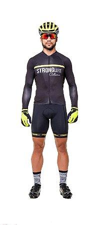 Camisa de Ciclismo Masculina Manga Longa Slim - preto e Amarelo