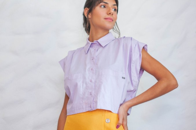 Camisa sem manga lavanda