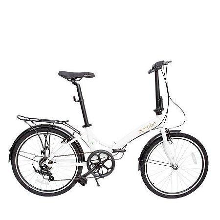 Bicicleta Dobrável Aro 20 e 6 Marchas Durban Rio XL Branco