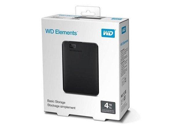 HD Externo 4TB WESTERN DIGITAL Elements WDBU6Y0040BBK