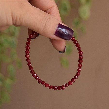 Pulseira masculina pedra natural jade vermelha