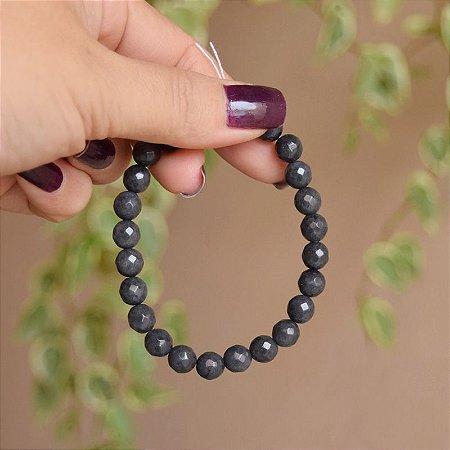 Pulseira masculina pedra natural jade cinza