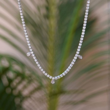 Colar choker zircônia gotas cristal ródio semijoia