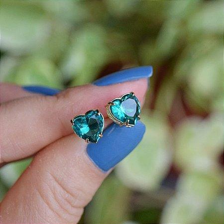 Brinco coração cristal verde esmeralda ouro semijoia