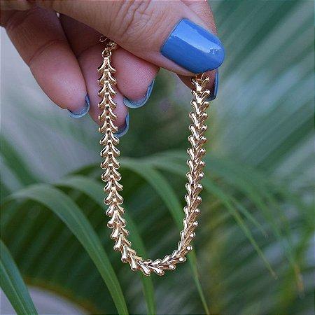 Pulseira seta ouro semijoia