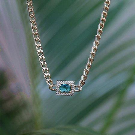 Colar choker corrente cristal verde  zircônia ouro semijoia
