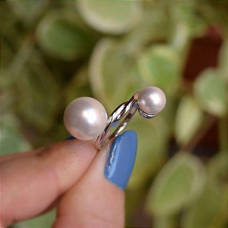 Anel nó pérolas ródio semijoia
