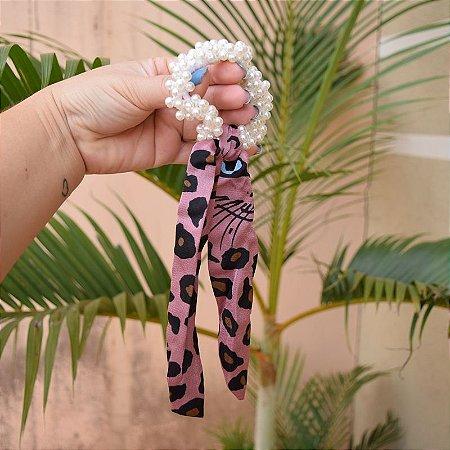 Elástico para cabelo pérolas com laço animal print