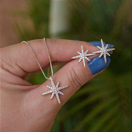 Colar e brinco estrela zircônia ouro semijoia 19k14038