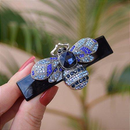 Presilha acetato abelha cristais azul