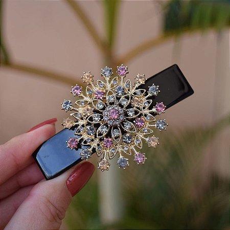 Presilha acetato mandala cristais coloridos