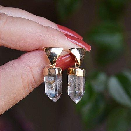 Brinco prisma pedra natural cristal de rocha ouro semijoia
