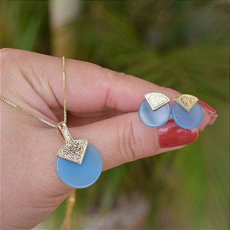 Colar e brinco redondo pedra natural ágata azul céu ouro semijoia