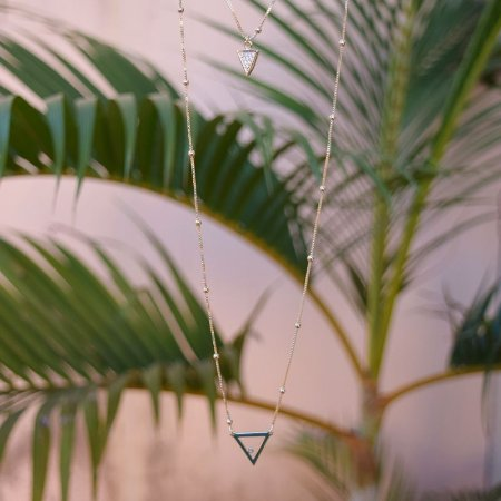 Colar duplo choker corrente geométrico zircônia ouro semijoia