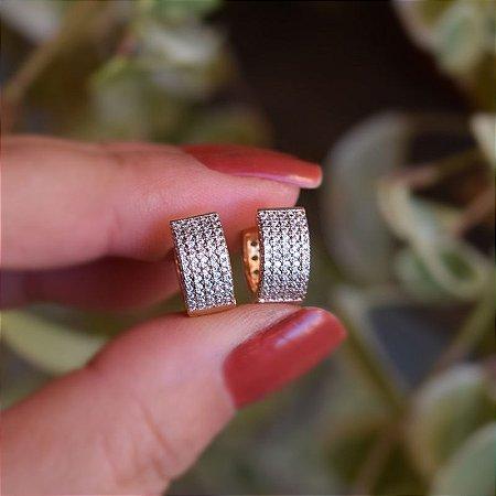Brinco argolinha reta zircônia ouro semijoia