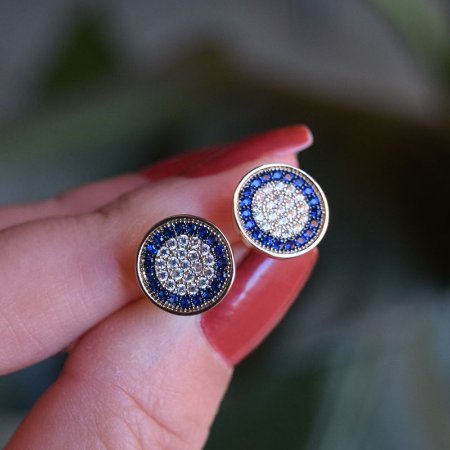 Brinco redondo zircônia azul ouro semijoia 4145