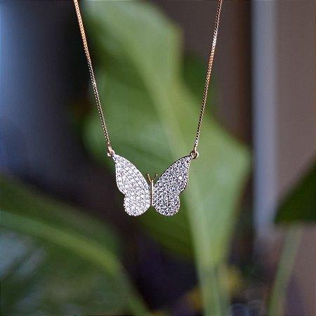Colar borboleta zircônia ouro semijoia 1698