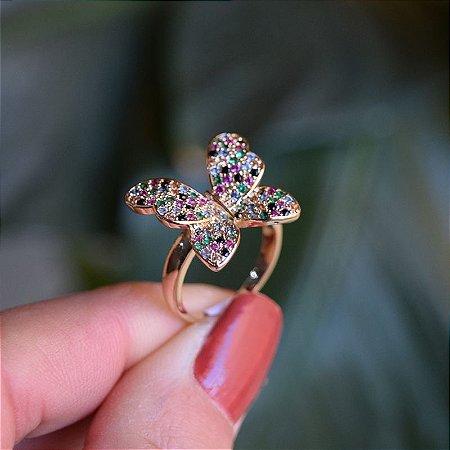 Anel borboleta zircônias coloridas ouro semijoia 142