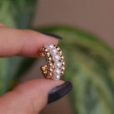 Piercing de encaixe individual pérolas e esferas ouro semijoia