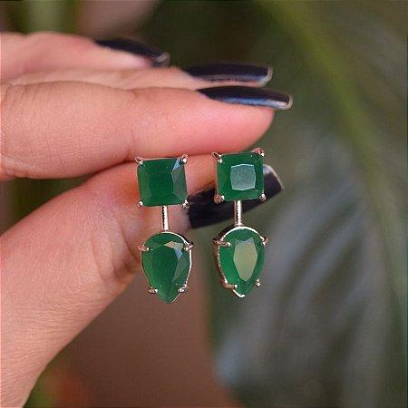 Brinco cristal esmeralda ródio semijoia
