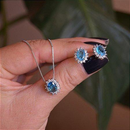 Colar e brinco oval cristal azul ródio semijoia