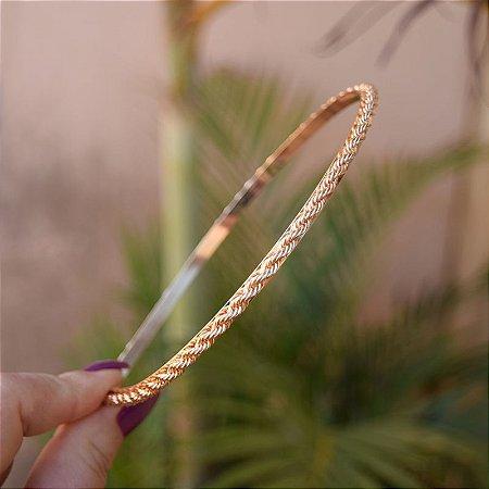 Tiara corrente cordão baiano metal dourado