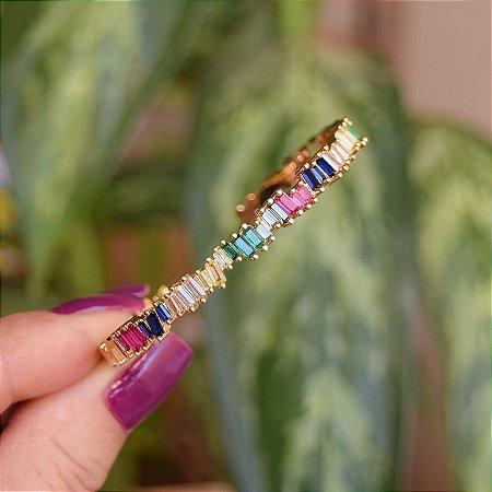 Bracelete zircônia baguete colorida ouro semijoia