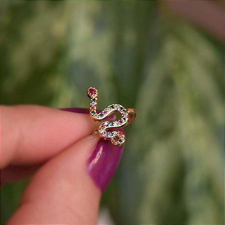 Piercing de encaixe individual serpente zircônia colorida ouro semijoia