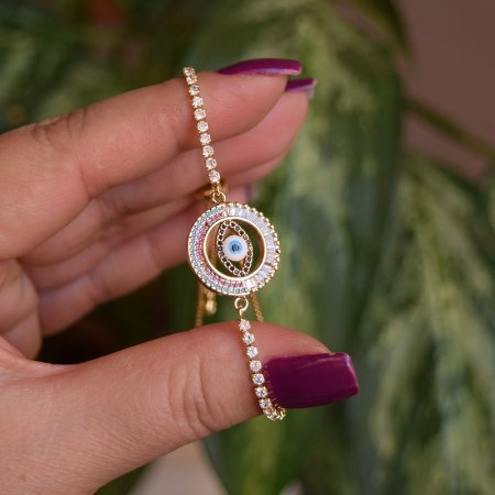 Pulseira gravatinha olho grego zircônia ouro semijoia