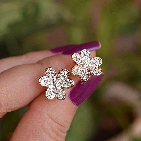 Brinco flor zircônia ouro semijoia 21a01007