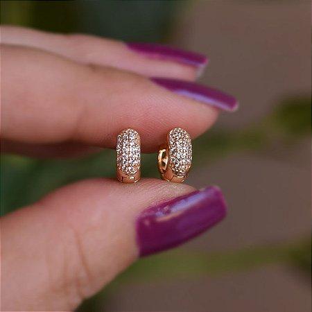 Brinco argolinha segundo furo zircônia ouro semijoia 18k08049