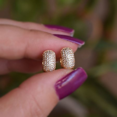 Brinco argolinha zircônia ouro semijoia 18k07018