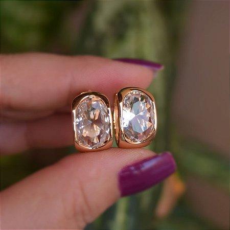 Brinco argola cristal ouro semijoia 21k01001