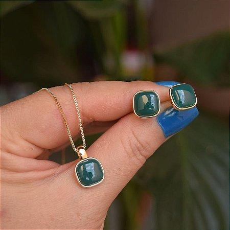 Colar e brinco quadrado pedra natural ágata verde ouro semijoia