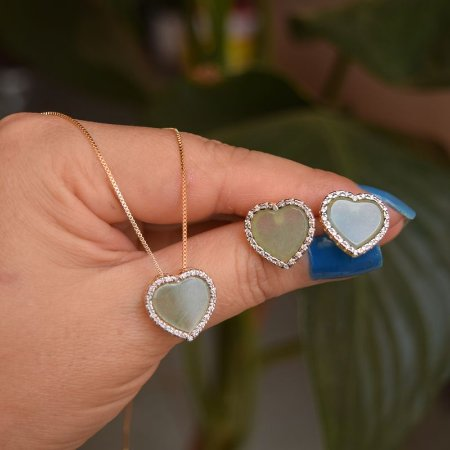 Colar e brinco coração pedra natural quartzo verde ouro semijoia