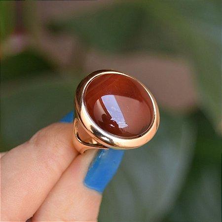 Anel redondo pedra natural ágata vermelha ouro semijoia