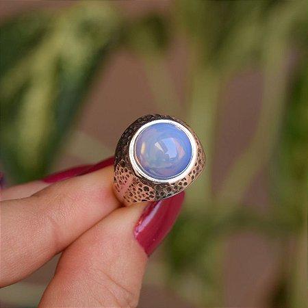 Anel redondo pedra natural opalina prata 925