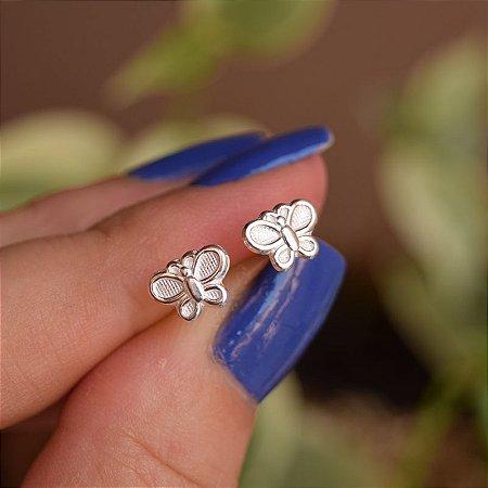 Brinco mini borboleta prata 925
