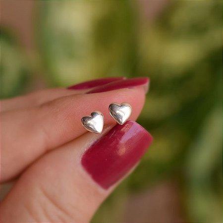 Brinco coração liso prata 925