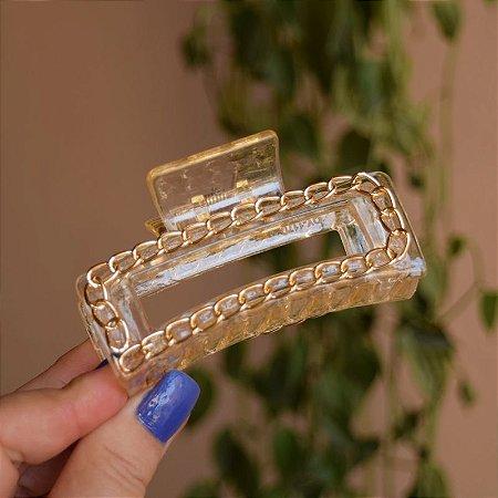 Piranha de cabelo retangular grande acrílico transparente com corrente