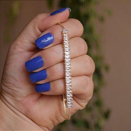 Pulseira gravatinha zircônia baguete cristal ouro semijoia