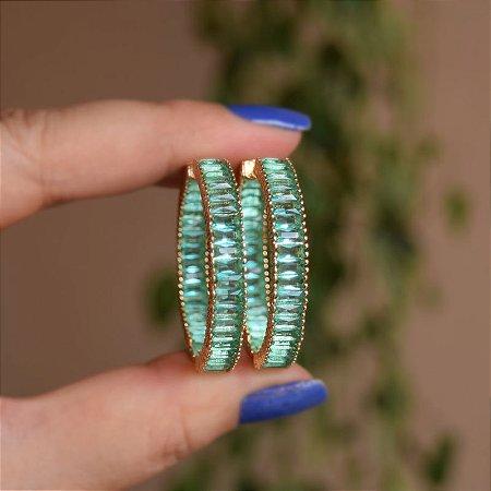 Brinco argola cristal verde ouro semijoia 19k07035