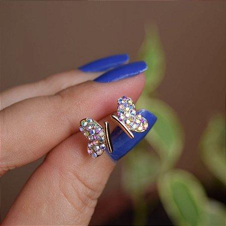Brinco borboleta p strass boreal ouro semijoia 21k02003