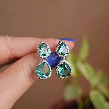Brinco gota zircônia cristal verde ródio semijoia 19a12101