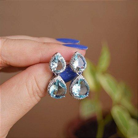 Brinco gota zircônia cristal azul ródio semijoia 19a12101